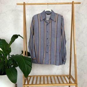 Vintage 70s Blue Yellow Plaid Button Up Shirt